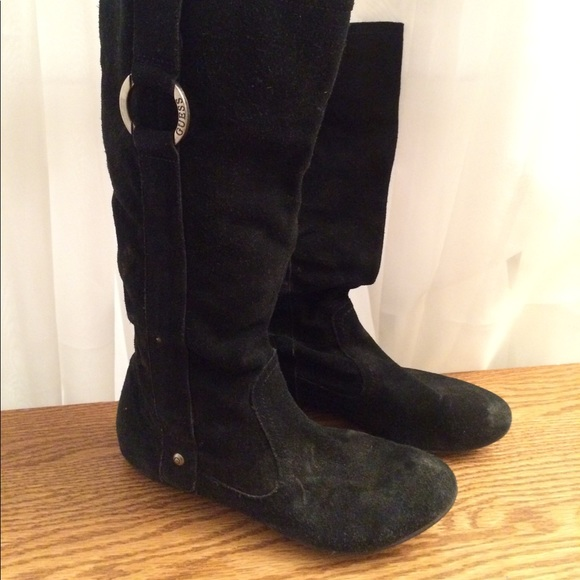 Guess Shoes - GUESS black flat boot with silver round buckle